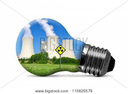 Nuclear power plant in bulb isolated on white background. Concept of nuclear energy.