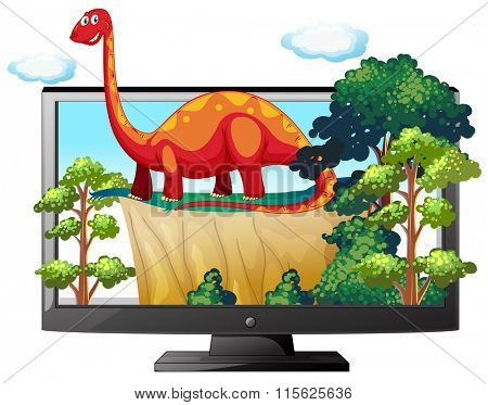 Sauropod on the computer monitor illustration