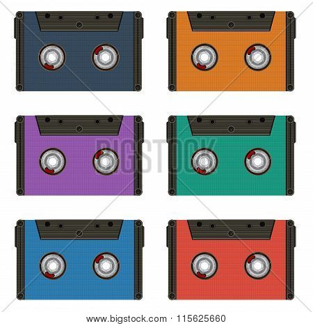 Six multi colored cassettes