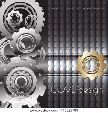 Vector square  cover design with black, white and  golden cogwheels.
