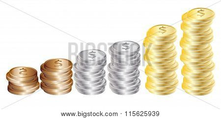 Graph from coins: gold, silver, bronze