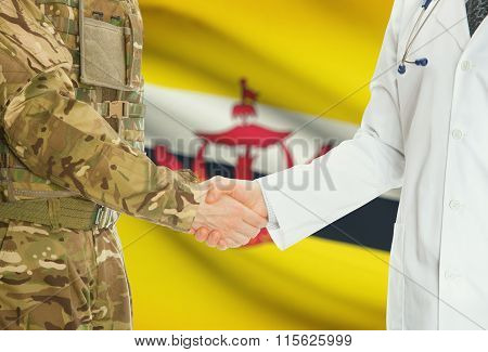 Military Man In Uniform And Doctor Shaking Hands With National Flag On Background - Brunei