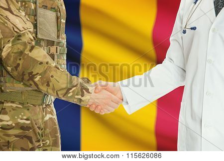 Military Man In Uniform And Doctor Shaking Hands With National Flag On Background - Chad