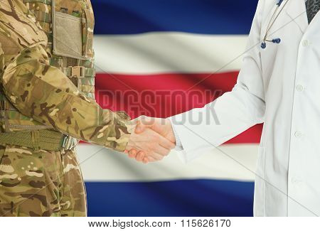 Military Man In Uniform And Doctor Shaking Hands With National Flag On Background - Costa Rica