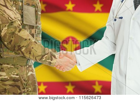 Military Man In Uniform And Doctor Shaking Hands With National Flag On Background - Grenada