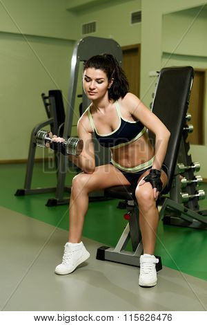 Young Pretty Woman Pumping Up Muscles With Dumbbells