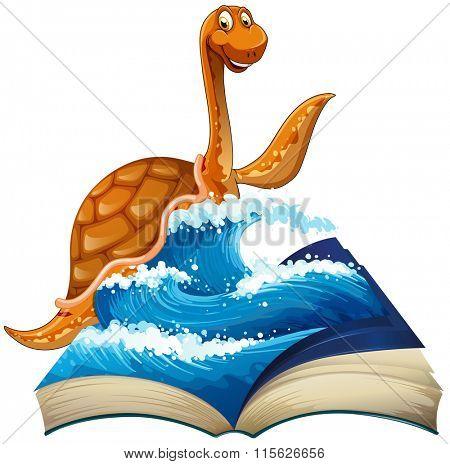 Cute dinosaur in the sea illustration
