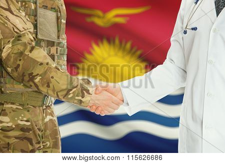 Military Man In Uniform And Doctor Shaking Hands With National Flag On Background - Kiribati