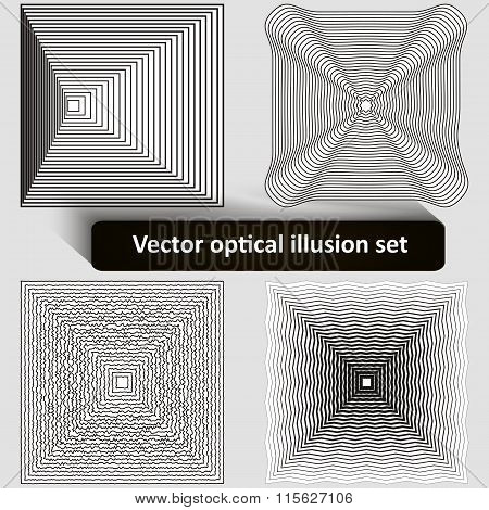 Vector optical illusion set
