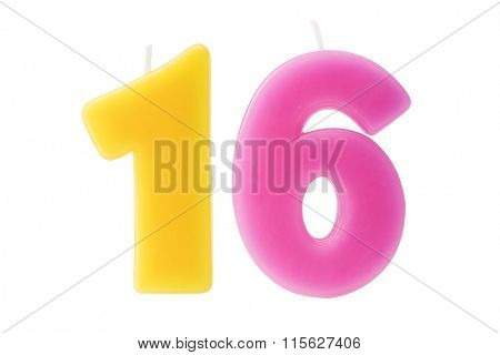 Colorful birthday candles in the form of the number sixteen on white background