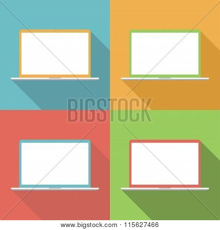 Laptop Icons Set In The Style Flat Design On The Background Different Colors. Stock Vector Illustrat