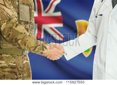 Military Man In Uniform And Doctor Shaking Hands With National Flag On Background - Turks And Caicos