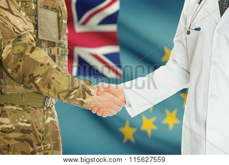 Military Man In Uniform And Doctor Shaking Hands With National Flag On Background - Tuvalu