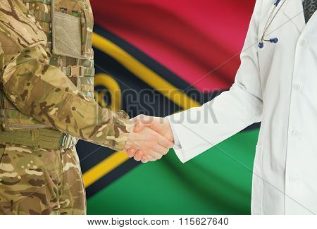 Military Man In Uniform And Doctor Shaking Hands With National Flag On Background - Vanuatu
