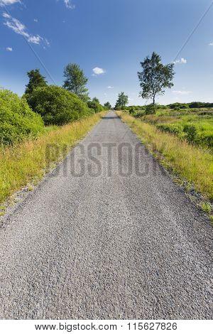 Road Through Wide Landscape In The High Fens, Belgium
