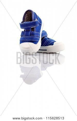 blue baby shoes on white - baby stuff