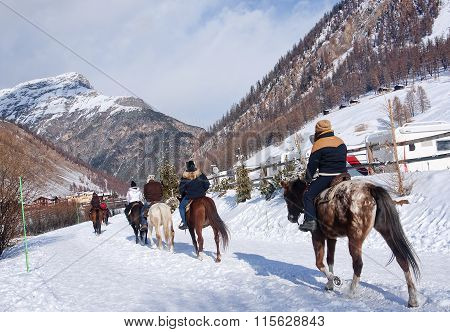 Livigno, Italy - January 4, 2016: View Of The Center Of Livigno