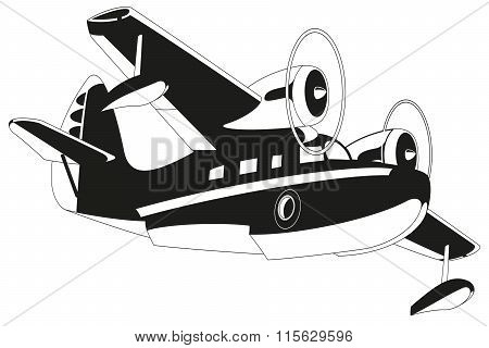 Retro seaplane illustration