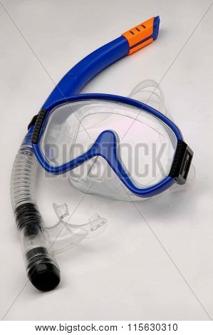 Diving Mask And Snorkel On White