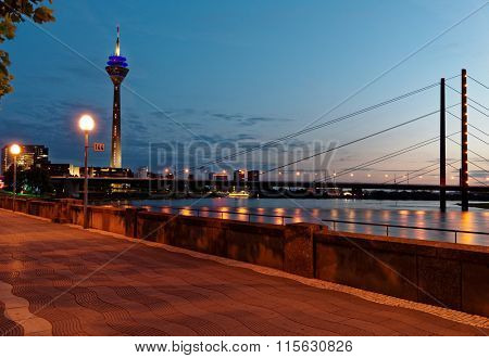 Night view to Rhine river in Dusseldorf, Germany