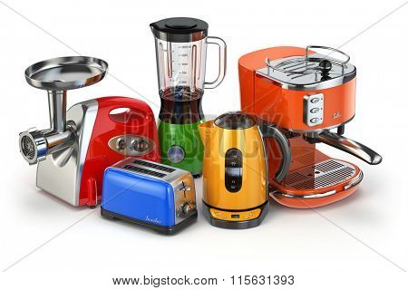 Kitchen appliances. Blender, toaster, coffee machine, meat ginder and kettle isolated on white. 3d
