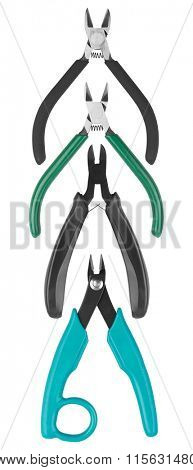 Set of Pliers isolated on white background