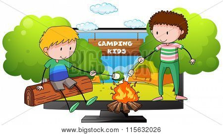 Two boys at the camp ground illustration