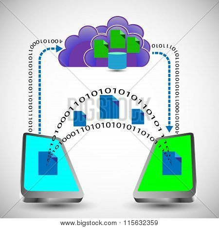 Illustration Of Digital Data Exchange Between Two Mobile Through Cloud Concept, Also Represents Shar