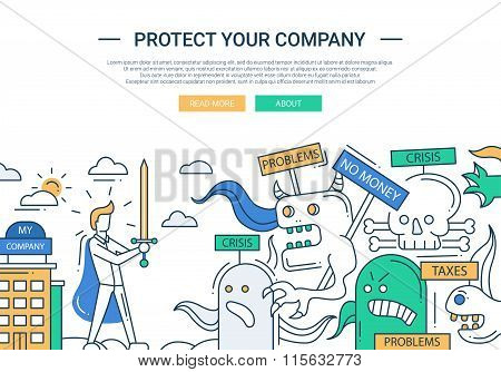 Protect your company line flat design banner with superhero businessman.