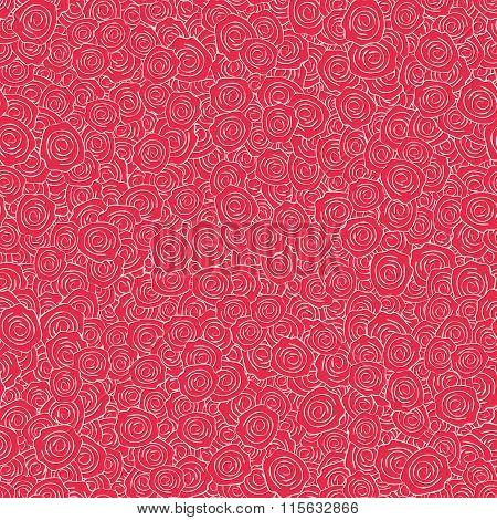 Vector Red Handdrawn Roses Seamless Pattern