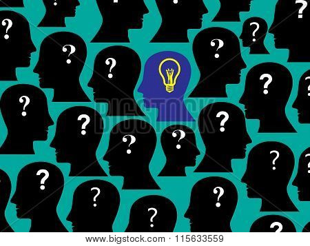 Human Head Collection With Question Mark And Bulb, This Also Represents One Person Having Solution