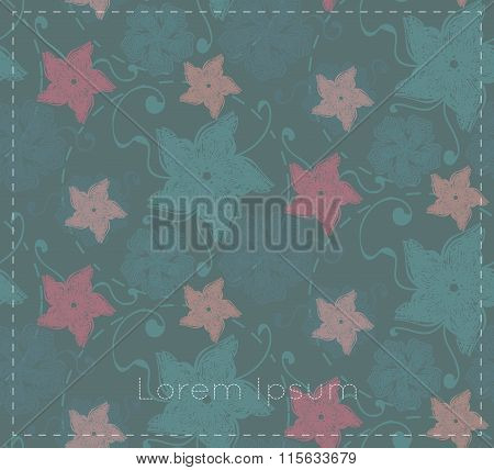 Dim Card With Abstract Flowers And Leaves.