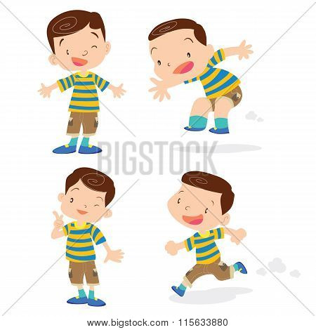 Cute Boy Character Cartoon Action.