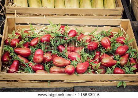Herry Tomatoes In The Wooden Box