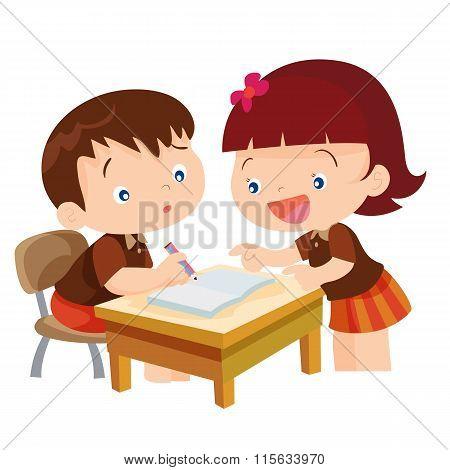 Cute Girl Teaching Boy