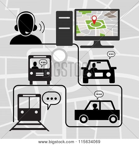 Transportation Symbols With Technical Voice Support For Map Navigation