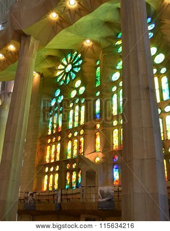 Sagrada Familia, Beautiful And Majestic Interior View On A Sunny Day In Barcelona
