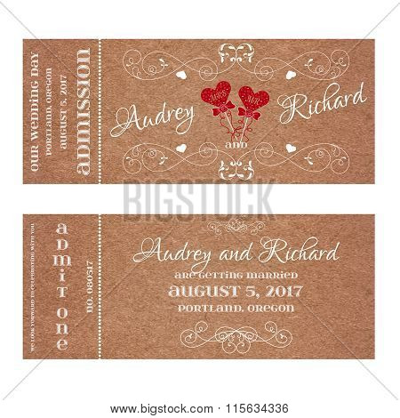 Ticket for Wedding Invitation with hearts MR and MRS on a stick