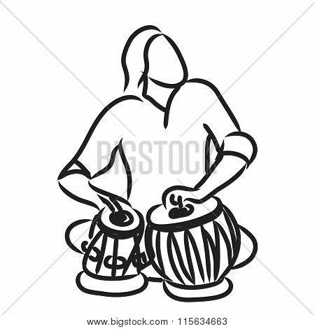 Indian musician playing tabla