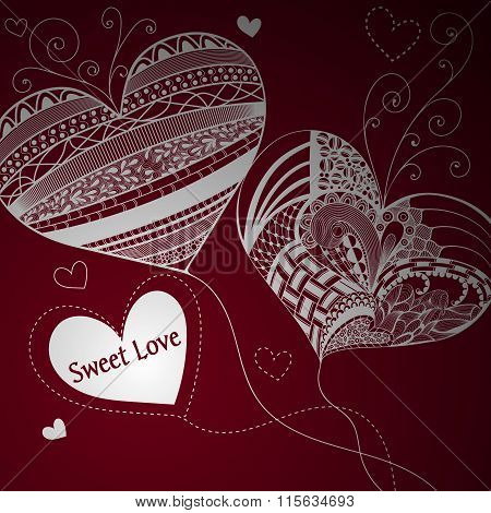 Balloons In Shape Of Heart. Valentine's Day. Vinous Background