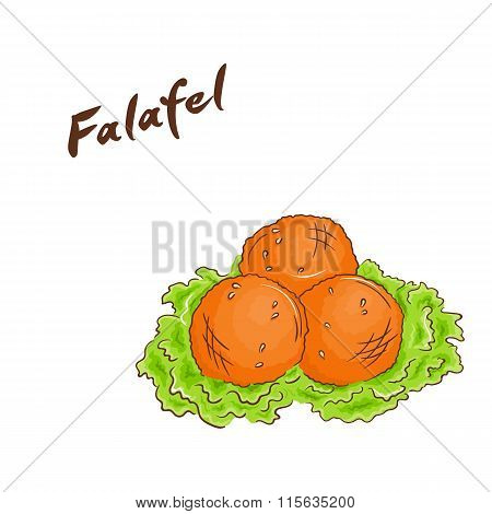 Vector Illustration Of Isolated Cartoon Hand Drawn Fast Food. Falafel