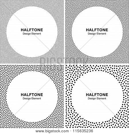 Set of Abstract Halftone Dots Frame Backgrounds. Circle Backgrou