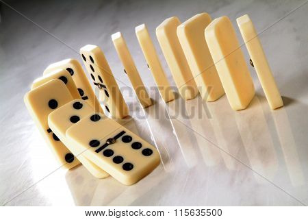 Row Of Dominoes In A Semicircle Shape