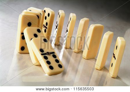 Row Of Dominoes In A Semicircle