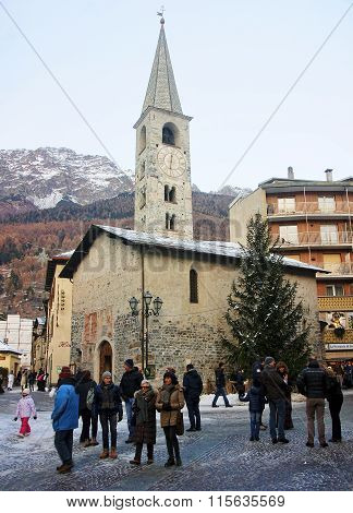 Bormio, Italy - January 3, 2016: Tourists Visiting Historic Borm