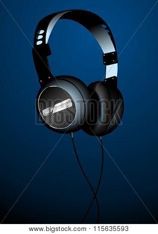 Hi-tech Sound Headset On A Blue Background