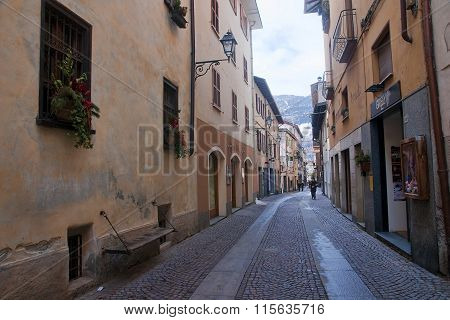 Bormio, Italy - January 8, 2016: Tourists Visiting Historic Borm