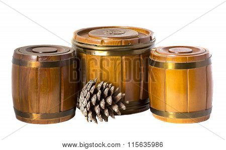 Three wooden  barrel and  cone