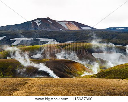 Icelandic landscape and geothermal area near Landmannalaugar