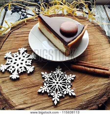 Chocolate Dessert And Snowflake